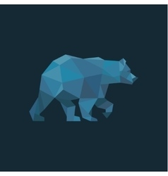 Bear in low poly blue polygons with trend style vector