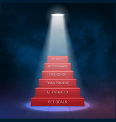 Smoky stairs stage podium with 6 success steps vector