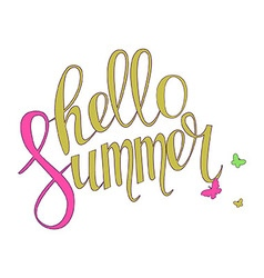 Brush lettering composition hello summer vector