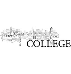 Arizona college text word cloud concept vector