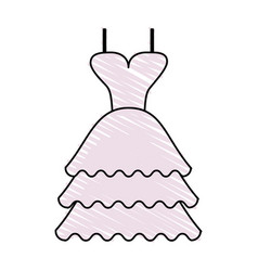 Color crayon stripe image wedding dress fashion vector