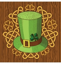 Colorful St Patricks Day hat with clover and vector image vector image