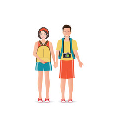 Couple travelers with luggage on white background vector