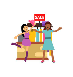 female friends shopping at the clothing store vector image vector image