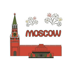 flat historical attractions of vector image