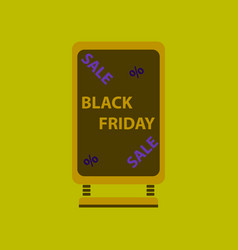 Flat icon of signboard black friday vector