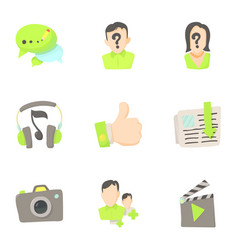 Friendship and communication in network icons set vector