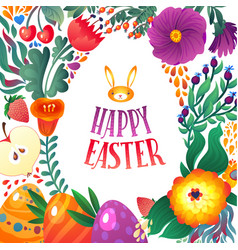 Happy easter greeting card little bunny and eggs vector