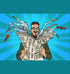 hipster happy military news paper newspaper vector image vector image