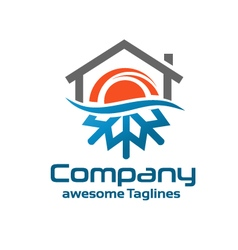 Hot And Cold Symbol with roofing logo vector image