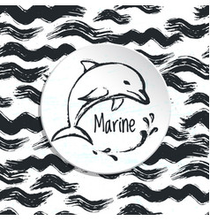 Ink hand drawn marine background vector