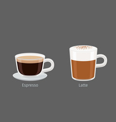 Latte and espresso coffee drinks vector