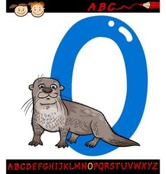 Letter o for otter cartoon vector