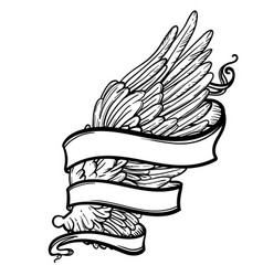 line art of angel wing and ribbon vector image vector image
