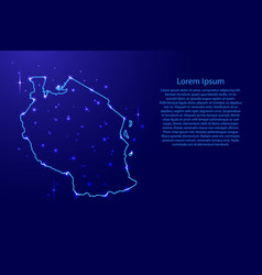 Map tanzania from the contours network blue vector