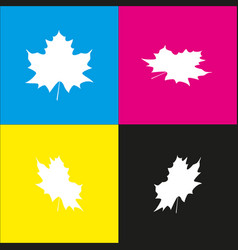 Maple leaf sign white icon with isometric vector