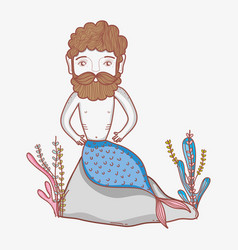 mermaid man cartoon vector image