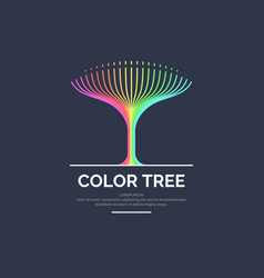 modern bright colored linear logo tree vector image vector image