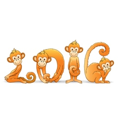 Monkey year 2016 vector image