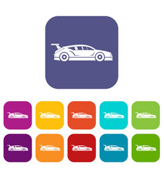 rally racing car icons set vector image