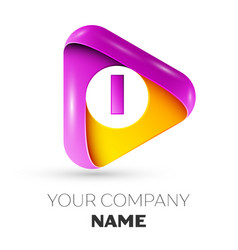 Realistic letter i symbol in colorful triangle vector