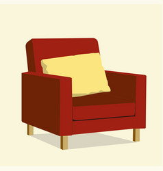 red luxury chair with yellow pillow luxury sofa vector image vector image