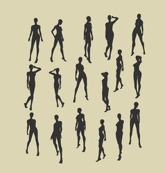Set of sexy women silhouettes vector