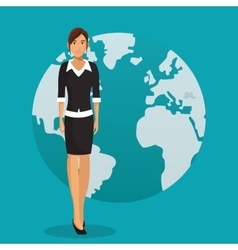 Woman business work global design vector