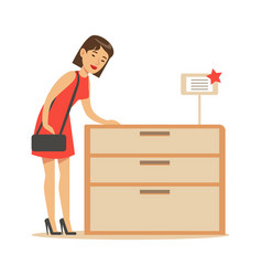 Woman buying a wooden dresser smiling shopper in vector