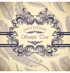 Vintage invitation card with calligraphic frame vector