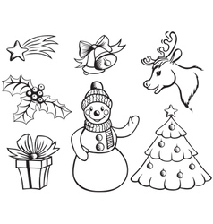 Set of christmas pictures vector