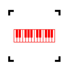 Piano keyboard sign  red icon inside black vector