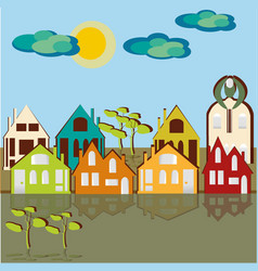 Houses sky and clouds1 vector