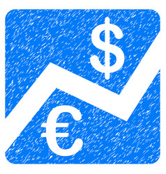 Euro and dollar finance grunge icon vector