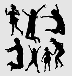 Happy kids playing silhouette vector