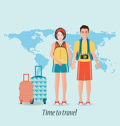 Couple travelers with luggage on world map vector