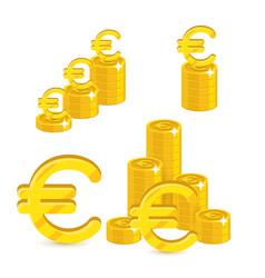 Piles gold euro isolated cartoon set vector