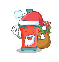 Santa aerosol spray can character cartoon with vector