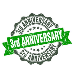 3rd anniversary stamp sign seal vector