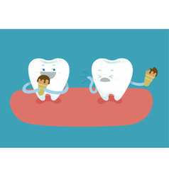 Teeth are eating ice-cream but tooth is so sensiti vector