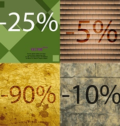5 90 10 icon set of percent discount on abstract vector