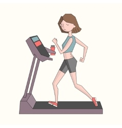 Girl run treadmill color vector