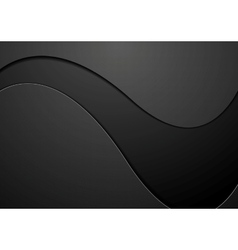 Black concept wavy background vector image