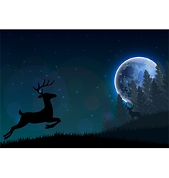 Silhouette of a deer jumping on a hill at night vector