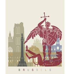 Brussels skyline poster vector