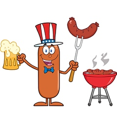 Patriotic Sausage Cartoon vector image