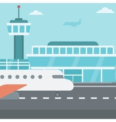 Background of airport with airplane vector