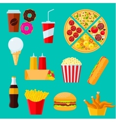 Fast food sandwiches desserts and drinks icon vector