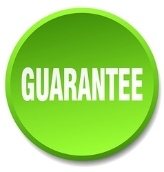 Guarantee green round flat isolated push button vector
