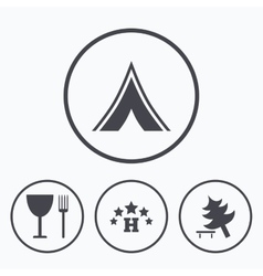 Food hotel camping tent and tree signs vector